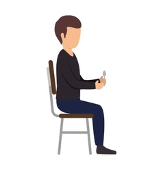 Avatar man sitting on chair vector
