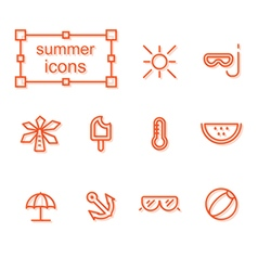 Thin line icons set summer vector image