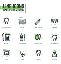 Dental line icons vector