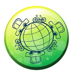 A globe surrounded by bicycles and cars vector