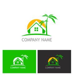 home palm tree logo vector image