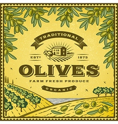 Vintage olives label vector