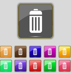 The trash icon sign set with eleven colored vector