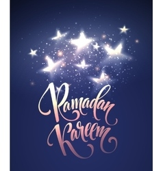 Ramadan kareem greeting lettering card with moon vector