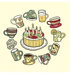 Greeting card with doodle hand drawn cake and tea vector image