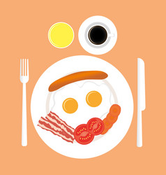 American breakfast top view isolated vector