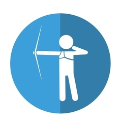 Archery player aiming bow game shadow vector