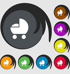Baby pram icon sign symbols on eight colored vector