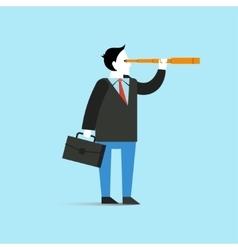 Businessman look through spyglass vector image