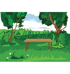 Cartoon grass trees and bench vector image vector image
