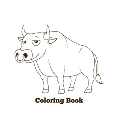 Coloring book bull cartoon educational vector image vector image