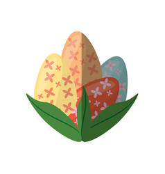 easter eggs with leaves decoration shadow vector image