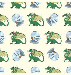 Fantasy knight dragon flying seamless pattern vector