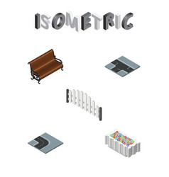 Isometric architecture set of barricade flower vector