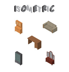 Isometric furniture set of drawer cupboard couch vector