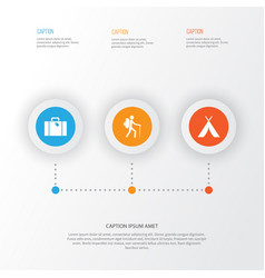 Journey icons set collection of traveler bag vector