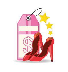 Label and high heel shoes shopping concept vector