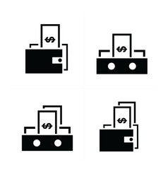 Money in the wallet icons vector