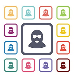 Offender flat icons set vector