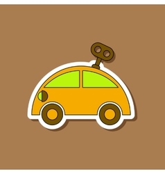 Paper sticker on stylish background kids toy car vector