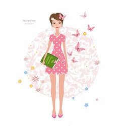 Pink butterflies flying around cute girl with a vector image