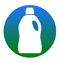 Plastic bottle for cleaning white icon in vector