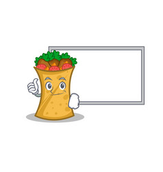 Pose with board kebab wrap character cartoon vector