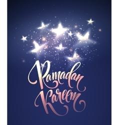 Ramadan kareem greeting lettering card with moon vector
