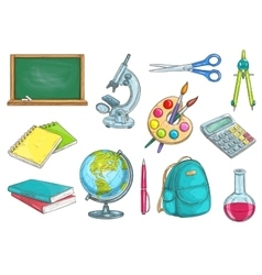 School and education isolated objects vector image
