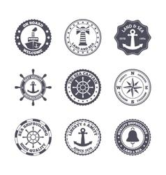 Sea port label set vector