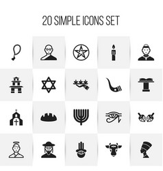Set of 20 editable faith icons includes symbols vector