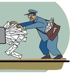 The postman a lot of paper mail and inbox vector