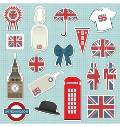 united kingdom stickers vector image vector image