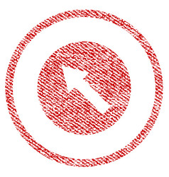 up-left rounded arrow fabric textured icon vector image