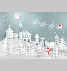 Winter holiday with home and santa claus vector