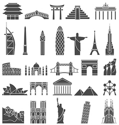 World famous monuments icon set vector
