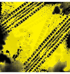 Yellow tire track background vector