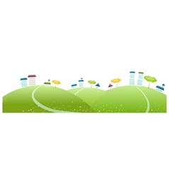 Buildings on green landscape vector