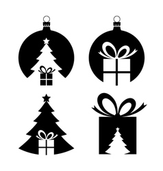Negative space christmas icons vector