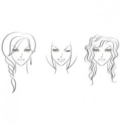 faces women's vector image