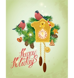 Card with vintage wooden Cuckoo Clock xmas gingerb vector image