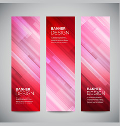Red low poly vertical banners set with vector