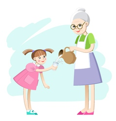 Grandma pours a glass of milk for the girls vector