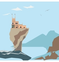Yalta swallow nest on clif and sea background vector