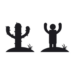 Cactus and man vector