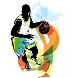 Sketch of basketball player vector image
