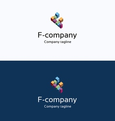 F letter buildings 3d logo vector image