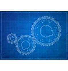 Gears blueprint business concept vector