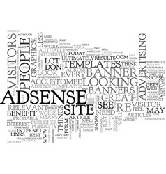 Adsense and the surfer text word cloud concept vector