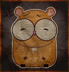 Animal grunge card with funny cartoon hamster vector